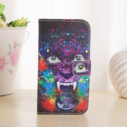 High Qulity colorful Print Stand Flip folio book style PU Leather smartphone Case For Samsung Galaxy S6