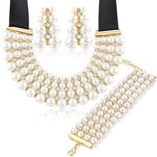 latest indian fashion wedding bridal 18k gold plated african beads 4 rows pearl jewelry set 2015