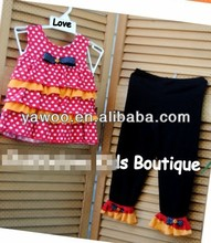 2014Newest Kids Popping Polka Dots Little Girl Clothes Outfit Baby Ready Ship Red White Orange Ruffled Top Black Pants Set