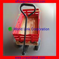 Wooden Garden Tool Kids Toy Beach Cart 4 Wheels Transport Red Wagon