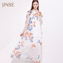 2015 summer women wear fashion long sleeves maid of honor dress wholesale chiffon maxi dress