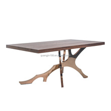 gold stainless steel base modern wooden dining table and chairs