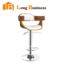LB-5020 Most popular newest simple high wooden legs bar chair price with white back