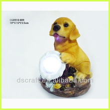 Polyresin dog figurine with led functions