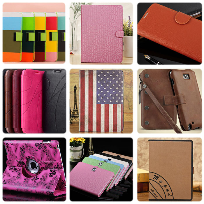 2014 trendy gird pattern leather cover for ipad air leather case