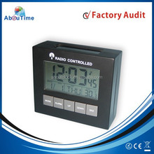 Modern radio controlled automatic digital table alarm clock with desk calendar