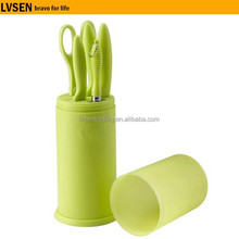 green pp handle holder stainless steel 6 pcs kitchen knife