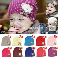 cartoon bear 10 colors bear beautiful dot baby hat