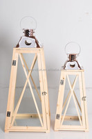 Set 2 wood metal and glass lanterns with handles