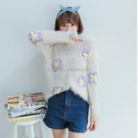 autumn 2015 fashionable roll neck flower patter print lady knitted mohair pullover sweater