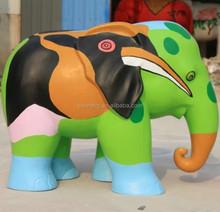 Fiberglass colourful elephant sculpture