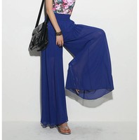 Ladies Casual Pleated Wide Leg Loose Cheap Chiffon Palazzo Pants 9108