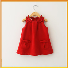 2015 Autumn dress design high quality baby girls knitted dress