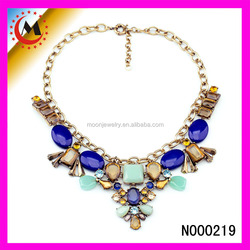 FACTORY DIRECTLY WHOLESALE SMALL ORDER ACCEPT 2015 FASHION STATEMENT BEADED PENDANT NECKLACE WITH CHAIN JEWELLERY