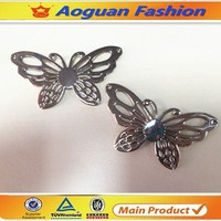 2016 fashion beautiful butterfly style ladies shoes metal decoration made in china