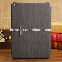 FL3073 2013 Guangzhou new arrival stand wood pattern leather flip case cover for apple ipad air