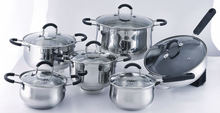 New 12pcs high quality stainless steel Saucepan Casserole Frypan cookware set with glass lid