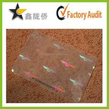 2015 custom self adhesive clear labels id card hologram sticker