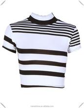 womens plain slim fitting White Striped custom Short Sleeve Monochrome Crop Top