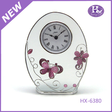 HX-6380 Pink Butterfly Antique Skeleton Glass Table Clock Design