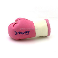 Custom pink and white mini leather boxing glove keychain