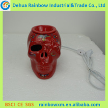 new style skull shape color glazed electric essential oil burner