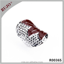 wholesale price silver plated brown enamel fashion ring