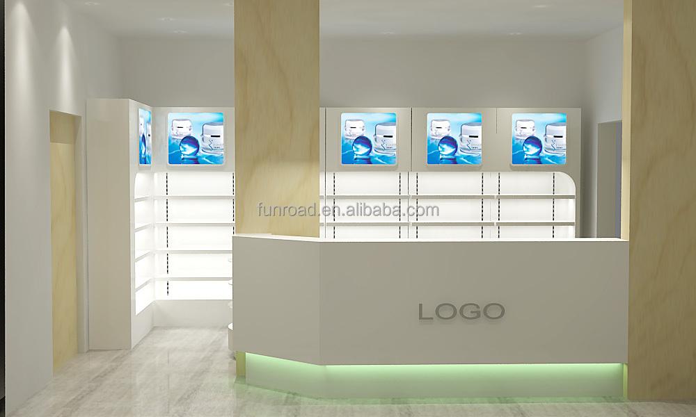 Diseño entero para tiendas farmacias con Mostradores kioscos mesas ...