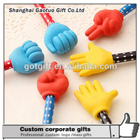 Promotional novelty custom Pencil with hand shape cap