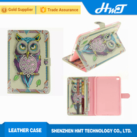 fake 3D style PU leather wallet case with inside print shockproof case for ipad mini 4 cute owl tiger