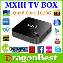 MXIII Android 4.4 Amlogic S802 Quad Core MX3 Android tv box 4k decoding ,Octa GPU 1G 8G