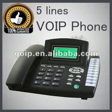 5 line voip phone RJ45,support Asterisk with cheap price IP Phone free unlimited voip calls