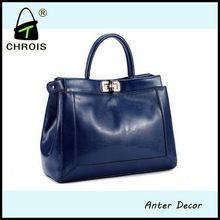 2015 Solid color ladies handbags in genuine leather bag