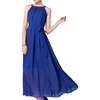 korean style halter pleated chiffon slimming belt light blue party maxi dresses summer beach clothes woman