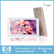 3G dual core android tablet pc 7 inch HD screen with dual sim card