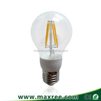 Ultra bright CE ROHS approved clear glass E27 4W 6W 8W led filament bulb