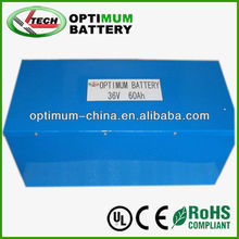 lithium battery pack 36v 60ah lifepo4 batteries for electric scooter/skating board