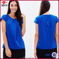 fashion women blouses wholesale short sleeve women blue blouses 2015