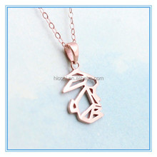 Stainless Steel Rose Gold Geometric Animal Necklace Bunny Necklace