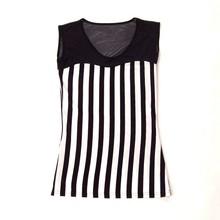 2015 Newest Sleeveless B/W Striped Ladies Long Tee