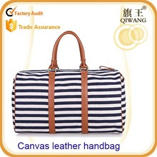 European fashion travel zipper strip waxed canvas tote bag with leather hand