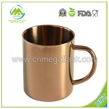 450ml Mirror Finished VanDay Copper Plating Double Wall Stainless Steel Coffee Cup Mug Moscow Mule Copper Mug