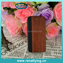 cheapest mobile phone pu + wood case for iphone5
