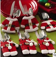 Happy Santa Silverware Holders Christmas Decorations Pockets Dinner Decor