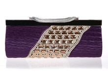 2015 Designer crystal stone evening party bags hard case clutch bags #FX382