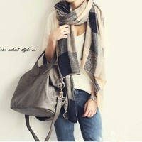 13853 Top Sale 2014 Autumn Winter New Fashion Unisex Vintage Big Tartan Pattern Knitted Scarf