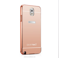 New wholesale made-up mirror protective bumper arylic metal phone case for samsung galaxy note 3