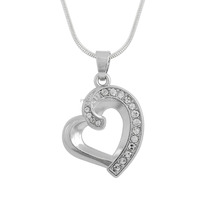 Wholesale Snack Chain Heart Pendant Necklace With Hollow Crystal Charm For Woman Gifts