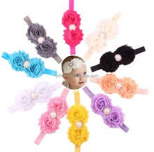 wholesale Baby Toddler Infant Flower Headband with Pearl Hair Bow Band Accessories