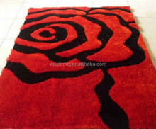 new design 3D polyester springiness with silk tufted shaggy carpet